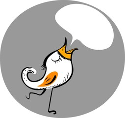 Funny bird with speech bubble