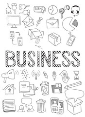 Hand drawn vector illustration set of business.
