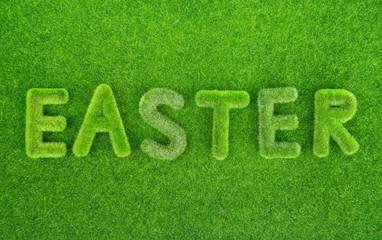 Easter spelled in grass