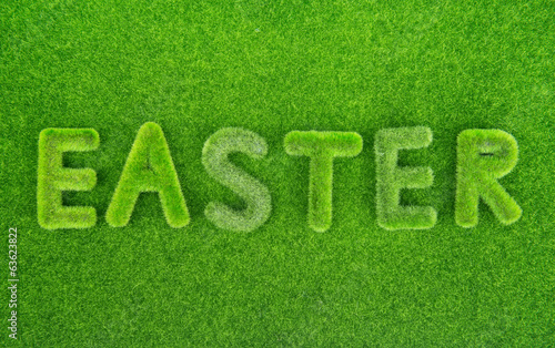 Easter spelled in grass