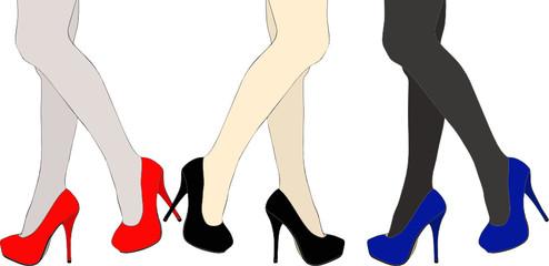 Scarpe, gambe e calze di seta