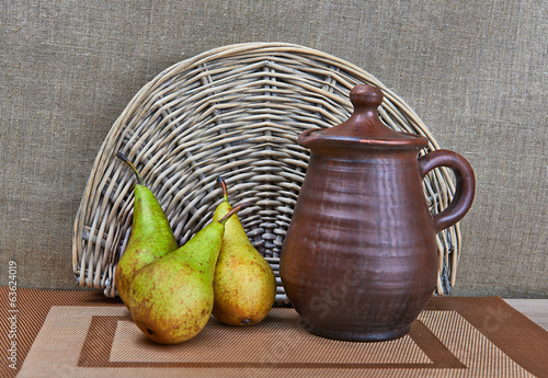 Pottery And Pears Still Life