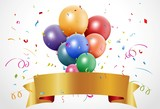 Fototapety Colorful birthday celebration with balloon and ribbon