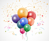 Fototapety Colorful birthday with balloon and fireworks