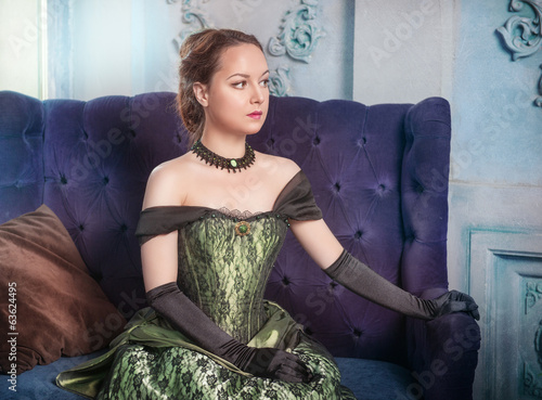 Beautiful woman in medieval dress