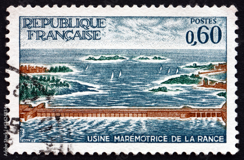 Poster Dam Postage stamp France 1966 Rance Power Station