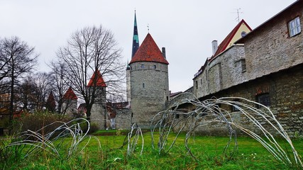 the old city wall in Tallinn, Estonia