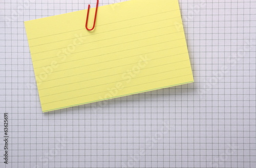 Yellow Index Card on a sheet of Graph Paper