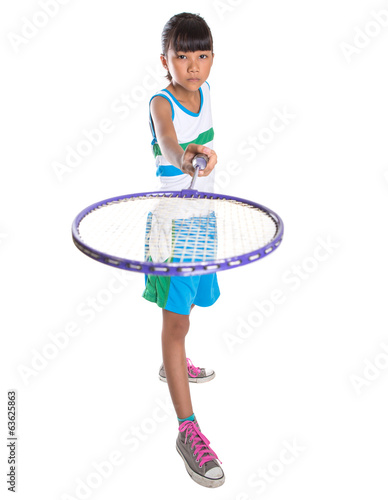 Young Girl Playing Badminton