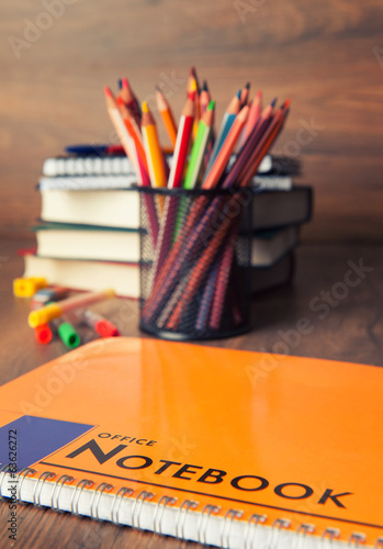 Office and school accessories. Pencil and notebook