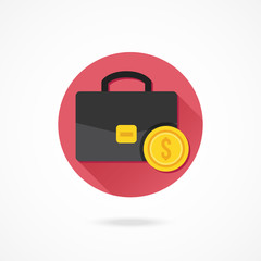 Vector Briefcase and Gold Coin Icon