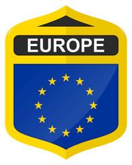 EU - Golden shield icon with flag