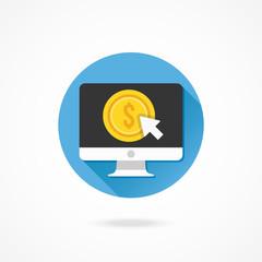 Vector Computer Display Pay per Click Icon