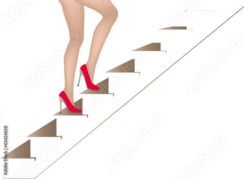 Womans legs walking on stairs