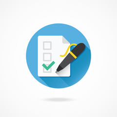Vector Form Pen and Tick Icon