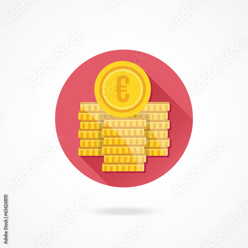 Vector Euro Coin Stacks Icon
