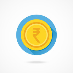 Vector Indian Rupee Gold Coin Icon