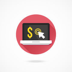 Vector Laptop Internet Earnings Pay per Click Concept Icon