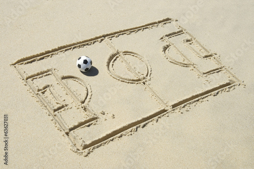 Football Soccer Pitch Line Drawing in Sand