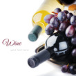 canvas print picture - Bottles of red and white wine with fresh grape