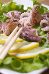 octopus with lemon wedges and chopsticks macro on a white plate
