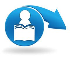 bibliothèque sur bouton bleu