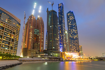 Skyscrapers of Abu Dhabi at night, United Arab Emirates
