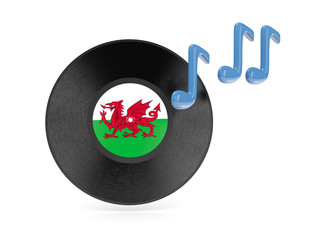 Vinyl disk with flag of wales