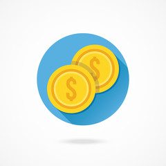 Vector Two Gold Coins Dollar Icon