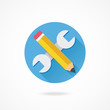 Vector Wrench and Pencil Icon Web Development Concept