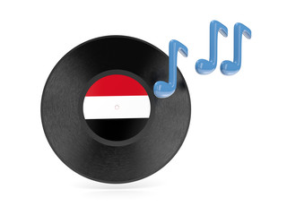 Vinyl disk with flag of yemen