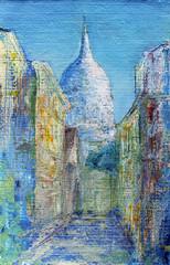 Montmartre street in the Paris, France