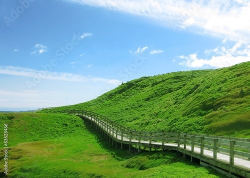 Wooden footpath to walk around green hill