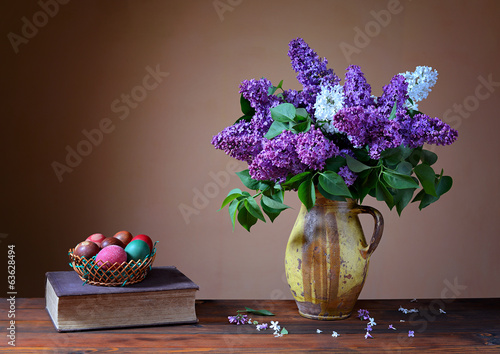 Violet lilac and  Easter eggs