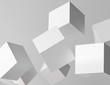3d rendering of white cubes