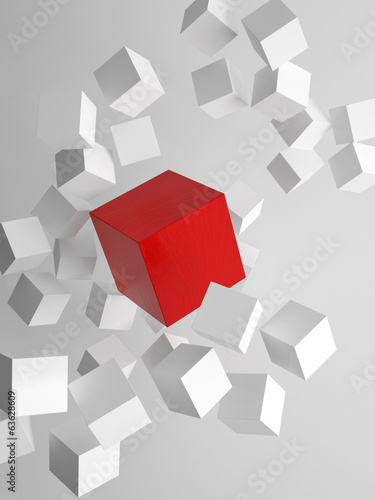 3d rendering of cubes