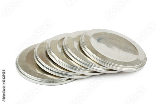 Lids for canning on a white background