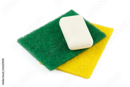 Soap and bath sponges for cleaning of the sanitary engineering