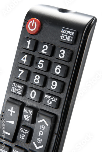Detail of a remote control isolated on white background