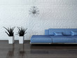 canvas print picture - ..Blue couch against stone wall