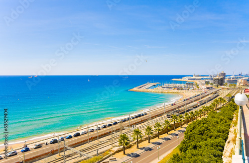 coast Tarragona: sea, railway and petrochemical plant