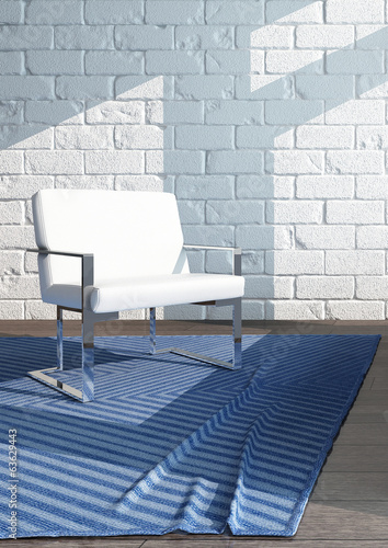 Single white chair standing on blue carpet