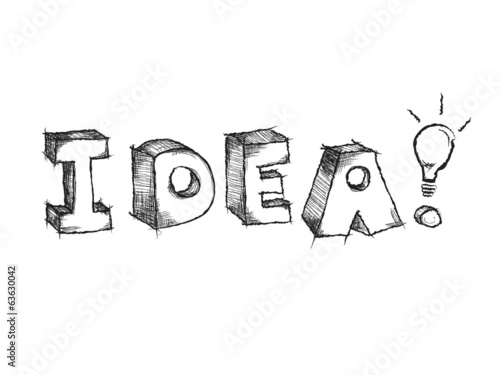 Hand drawn vector sketchy Idea word with light bulb