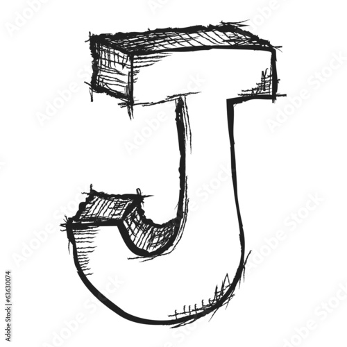 Sketchy hand drawn letter J isolated on white