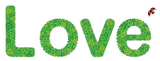 Loveの文字形のクローバー