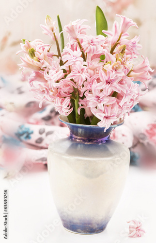 bouquet of hyacinth in vase on the table