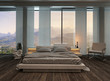 Bedroom interior with curtains and nice landscape view