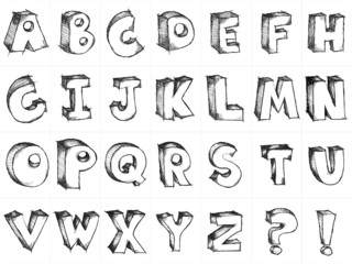 Sketchy hand drawn vector capital alphabet