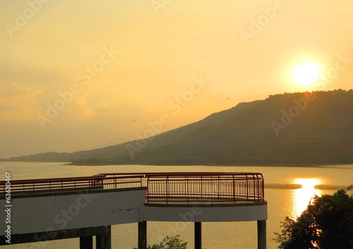 Sunset at a beautiful viewpoint in Thailand