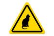 canvas print picture - Warnschild Gelb Katze
